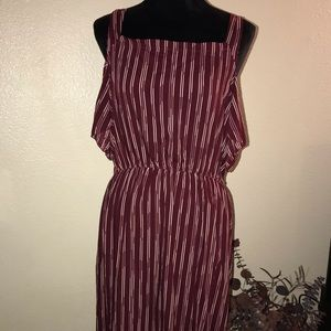 Burgundy Striped Maxi Dress Size L/XL